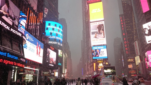 Snowing on Times Square